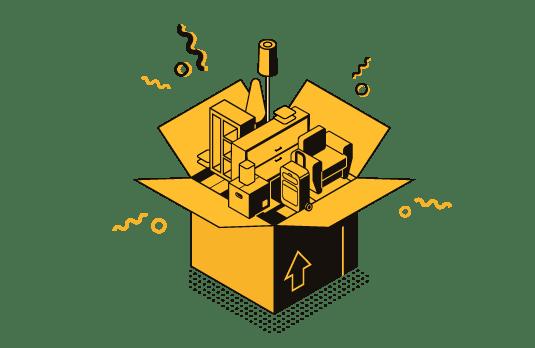 Caja con productos